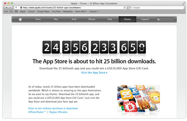 countdown to 25 billion App Store downloads