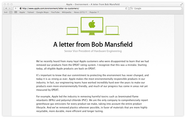 Apple EPEAT letter