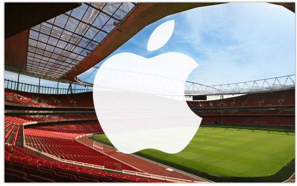Premier League stadium with Apple logo