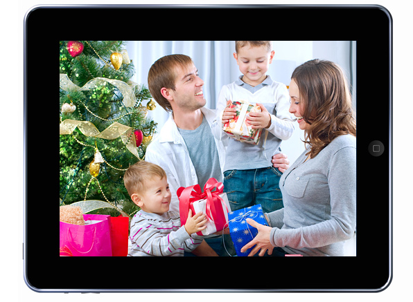iPad showing a family at Christmas