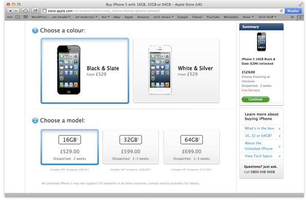 iPhone 5 pre-order page
