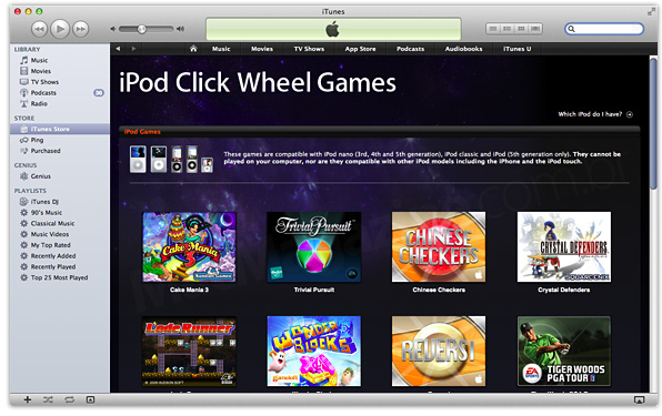 click wheel iPod games iTunes