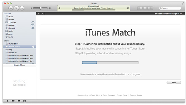 iTunes Match running