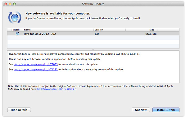 Java update for OS X 2012-002