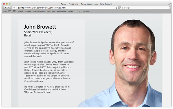 Apple Adds Its New Senior Vice President Of Retail John