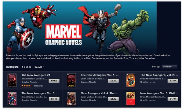 Marvel Graphic novels on the iBooks Store