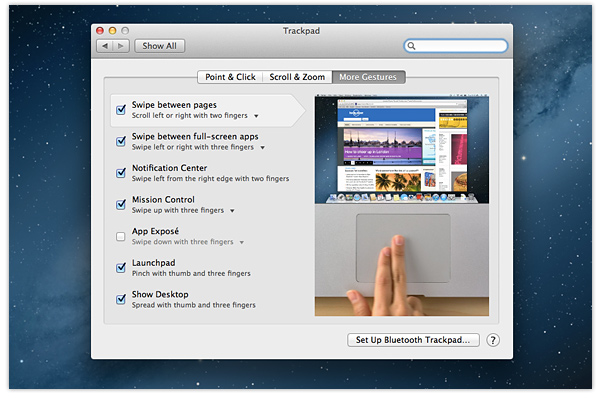 OS X Mountain Lion trackpad tricks