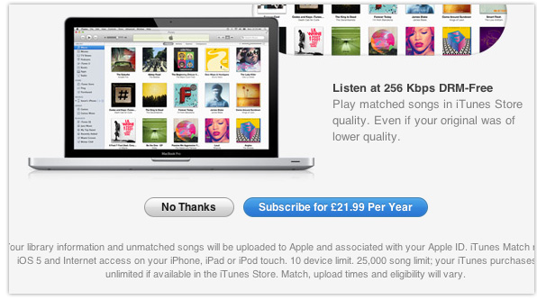 UK iTunes Match price